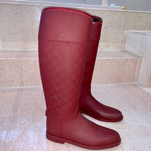 Gucci Maroon Rubber Monogram  Riding Boots